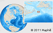 """Shaded Relief Location Map of the area around 45°35'46""""N,58°34'30""""W"""
