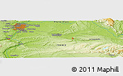 """Physical Panoramic Map of the area around 45°35'46""""N,5°10'30""""E"""