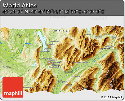 """Physical 3D Map of the Area around 45°35'46""""N,6°1'30""""E"""
