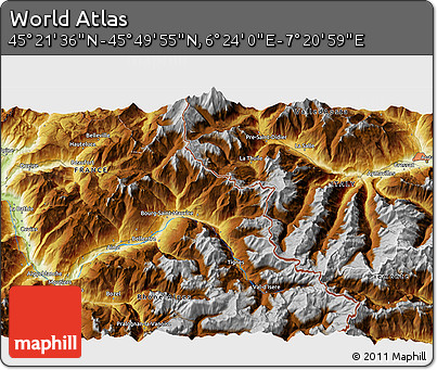 """Physical 3D Map of the Area around 45°35'46""""N,6°52'30""""E"""