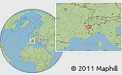 "Savanna Style Location Map of the area around 45°35'46""N,6°52'30""E"