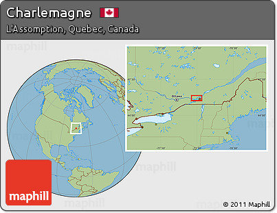 Charlemagne Canada Map Free Savanna Style Location Map of Charlemagne
