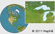 Satellite Location Map of Monico