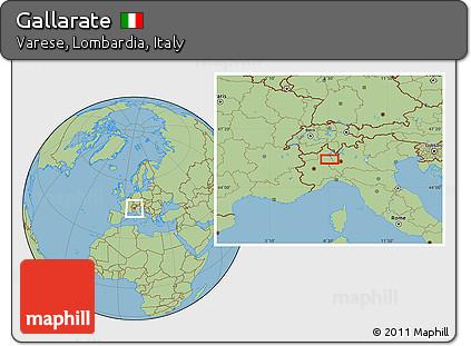 Free Savanna Style Location Map of Gallarate