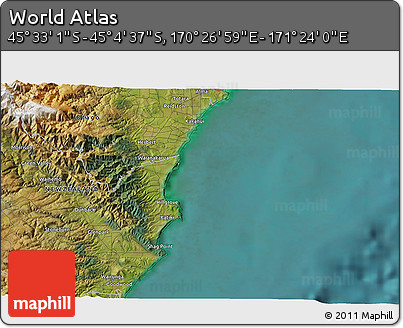 """Satellite 3D Map of the Area around 45°18'49""""S,170°55'30""""E"""