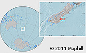 """Gray Location Map of the area around 45°18'49""""S,170°55'30""""E, hill shading"""