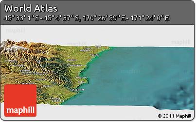 "Satellite Panoramic Map of the Area around 45°18'49""S,170°55'30""E"