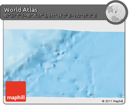 """Physical 3D Map of the Area around 45°18'49""""S,171°46'30""""E"""
