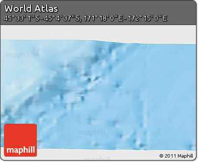 "Shaded Relief 3D Map of the Area around 45° 18' 49"" S, 171° 46' 30"" E"
