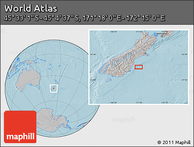 """Gray Location Map of the Area around 45°18'49""""S,171°46'30""""E, hill shading"""