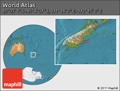 "Satellite Location Map of the Area around 45°18'49""S,171°46'30""E"