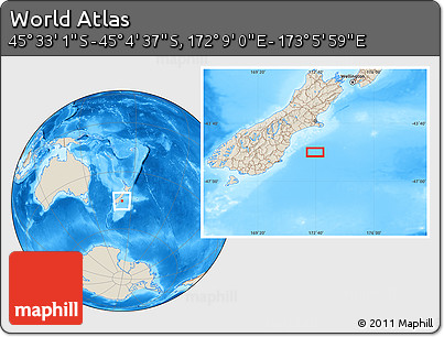 """Shaded Relief Location Map of the Area around 45°18'49""""S,172°37'30""""E"""