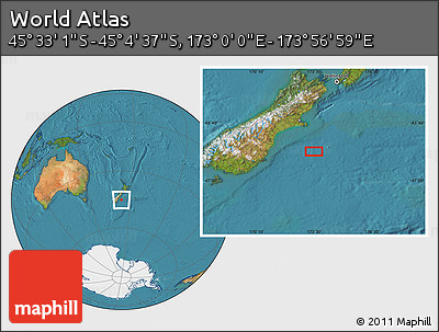 "Satellite Location Map of the Area around 45°18'49""S,173°28'29""E"