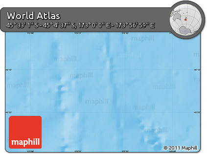 """Physical Map of the Area around 45°18'49""""S,173°28'29""""E"""