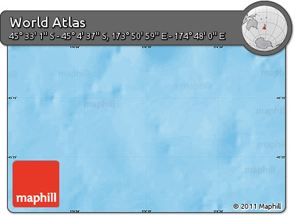 """Shaded Relief Map of the Area around 45°18'49""""S,174°19'29""""E"""