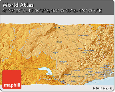 """Political 3D Map of the Area around 45°44'11""""S,170°4'29""""E"""