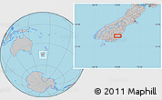 """Gray Location Map of the area around 45°44'11""""S,170°4'29""""E"""