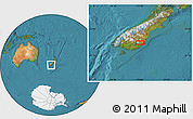 "Satellite Location Map of the area around 45°44'11""S,170°4'29""E"