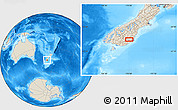 """Shaded Relief Location Map of the area around 45°44'11""""S,170°4'29""""E"""