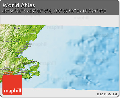 """Physical 3D Map of the Area around 45°44'11""""S,170°55'30""""E"""