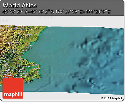 """Satellite 3D Map of the Area around 45°44'11""""S,170°55'30""""E"""