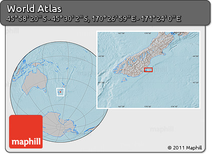 """Gray Location Map of the Area around 45°44'11""""S,170°55'30""""E, hill shading"""