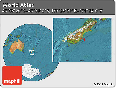 "Satellite Location Map of the Area around 45°44'11""S,170°55'30""E"