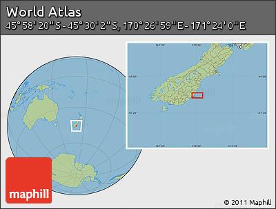 "Savanna Style Location Map of the Area around 45°44'11""S,170°55'30""E"