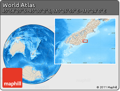 """Shaded Relief Location Map of the Area around 45°44'11""""S,170°55'30""""E"""