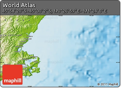 """Physical Map of the Area around 45°44'11""""S,170°55'30""""E"""