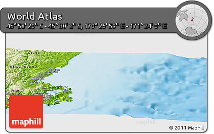 """Physical Panoramic Map of the Area around 45°44'11""""S,170°55'30""""E"""