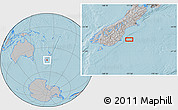 """Gray Location Map of the area around 45°44'11""""S,171°46'30""""E, hill shading"""