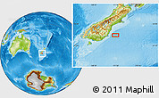 """Physical Location Map of the area around 45°44'11""""S,171°46'30""""E"""