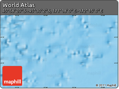 """Physical Map of the Area around 45°44'11""""S,171°46'30""""E"""