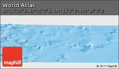 """Physical Panoramic Map of the Area around 45°44'11""""S,171°46'30""""E"""