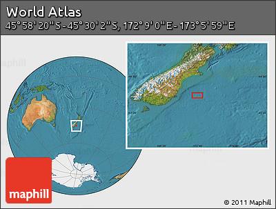"Satellite Location Map of the Area around 45°44'11""S,172°37'30""E"
