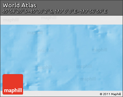 "Shaded Relief 3D Map of the Area around 45° 44' 11"" S, 173° 28' 29"" E"