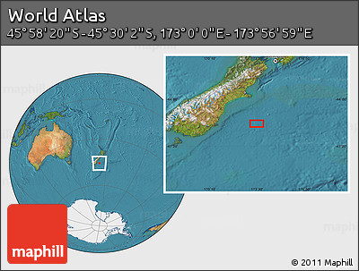 "Satellite Location Map of the Area around 45°44'11""S,173°28'29""E"