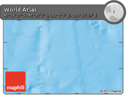 """Shaded Relief Map of the Area around 45°44'11""""S,173°28'29""""E"""