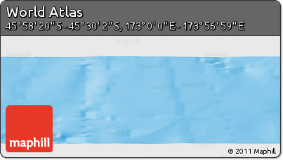 """Shaded Relief Panoramic Map of the Area around 45°44'11""""S,173°28'29""""E"""