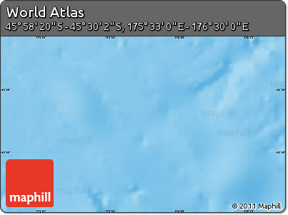 """Physical Map of the Area around 45°44'11""""S,176°1'30""""E"""