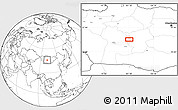 """Blank Location Map of the area around 46°1'3""""N,101°13'29""""E"""