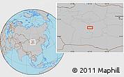 Gray Location Map of Ulaan-Uul