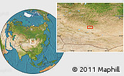 """Satellite Location Map of the area around 46°1'3""""N,101°13'29""""E"""