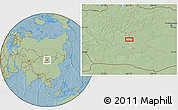 """Savanna Style Location Map of the area around 46°1'3""""N,101°13'29""""E, hill shading"""