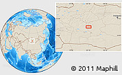 """Shaded Relief Location Map of the area around 46°1'3""""N,101°13'29""""E"""