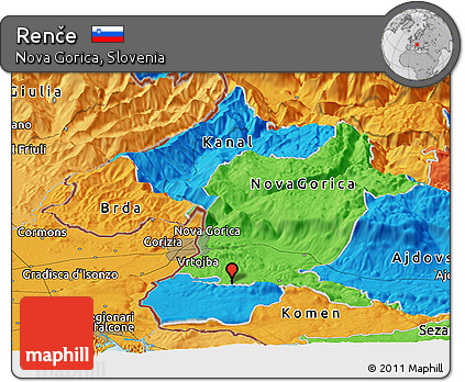 Political Panoramic Map of Renče