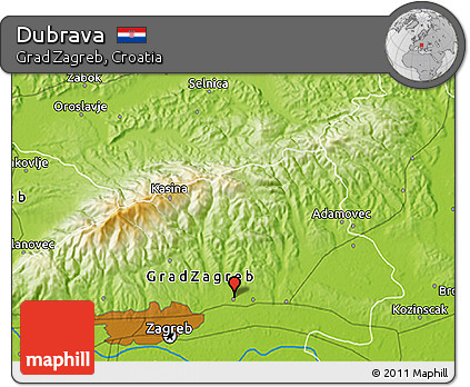 Physical 3D Map of Dubrava