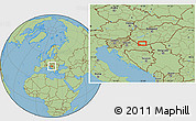 "Savanna Style Location Map of the area around 46°1'3""N,17°55'29""E"