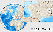 """Shaded Relief Location Map of the area around 46°1'3""""N,1°46'29""""E"""